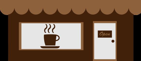 Skyltfönster med kaffekopp