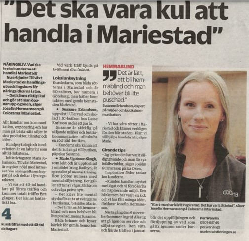 Artikel i Mariestads-Tidningen 191022