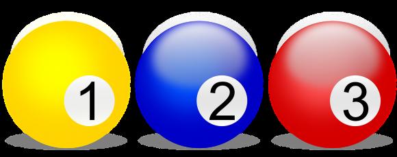 Tre biljardbollar